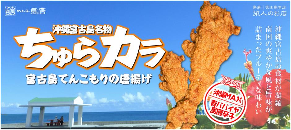 からあげグランプリで連続金賞受賞店の沖縄県宮古島の唐揚げ専門店「島唐」。沖縄の食材を使用した当店自慢の唐揚げ、名付けて「ちゅらカラ」